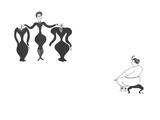 Curvy saleswoman with tiny waist and large hips shows dresses with tiny wa… - New Yorker Cartoon
