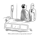 """""""When will he be able to sit up and take criticism"""" - New Yorker Cartoon"""