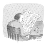 Man reads the obituaries in newspaper; headlines for each death refer  rel… - New Yorker Cartoon