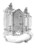 Cat angel going through the heavenly gates by cat-door - New Yorker Cartoon