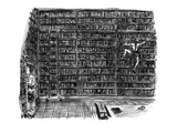 Huge library room  with books from floor to ceiling  is scaled by a woman … - New Yorker Cartoon