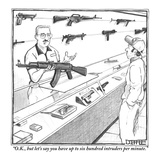 """""""OK  but let's say you have up to six hundred intruders per minute"""" - New Yorker Cartoon"""