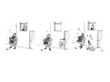 3 drawings A man plays a accordion beneath a window  The man in window l… - New Yorker Cartoon