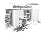 Businessman walking past a Savings & Loan stops to put his finger in a hol… - New Yorker Cartoon