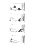 Four drawings; Man makes bed  as dog watches  Man leaves room Dog locks … - New Yorker Cartoon