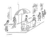Street vendor with cart that reads  'Eye Contact $100' - New Yorker Cartoon