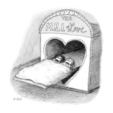 "Worried couple enters the heart-shaped entrance to ""The MRI of Love"" - New Yorker Cartoon"