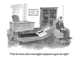 """I had the dream about meaningful employment again last night"" - New Yorker Cartoon"