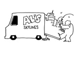"Man walks behind truck pulling a skyline out of the open backdoor The tru…"" - New Yorker Cartoon"
