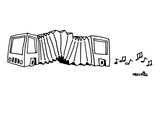 A bus is an accordion  Musical notes come out the back - New Yorker Cartoon