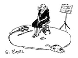 Saddened woman  with violin resting on floor  sits quietly on stool - New Yorker Cartoon