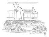 A laboratory scientist looks on as the walls of a small maze are divided b… - New Yorker Cartoon