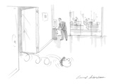 Man's head rolls out of boss's office into hallway - Cartoon