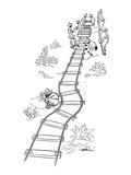 Mexicans laying railroad tracks curve it around a sleeping countryman - New Yorker Cartoon