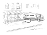 Large tanker truck  with 'White Wine' lettered on side  pumps wine into re… - Cartoon