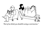 A centaur reclines on a couch His psychiatrist sits beside him in the opp… - New Yorker Cartoon