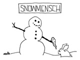 """Snowmensch"" Snowman hands his carrot nose to a rabbit - New Yorker Cartoon"