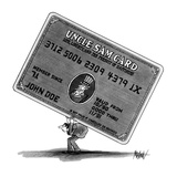 """Man in suit carrying the """"Uncle Sam Card"""" on hid back - New Yorker Cartoon"""