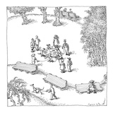 Dogs playing poker in the dog-walk  still tied to their leashes - New Yorker Cartoon