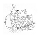 Street peddler with cart of children's clothes; sign on cart reads 'Pour L… - New Yorker Cartoon