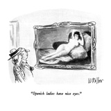 """Spanish ladies have nice eyes"" - New Yorker Cartoon"