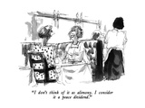 """""""I don't think of it as alimony  I consider it a peace dividend"""" - New Yorker Cartoon"""