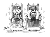 Queen knitting with ball of wool in king's lap - New Yorker Cartoon