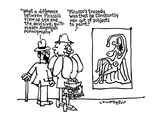 "Man to woman looking at a Picasso ""What a difference between Picasso's vie… - New Yorker Cartoon"