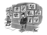Beggar standing on corner with cup in hand and diplomas hanging on wall be… - New Yorker Cartoon