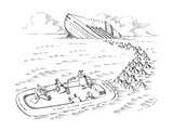 A cruise ship is sinking  and a woman pours glasses of champagne in a life… - New Yorker Cartoon
