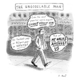 A man is seen walking down the sidewalk with word bubbles around him decla… - New Yorker Cartoon
