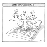 Three people perform traditional Irish dance on top of an oversize calculator - New Yorker Cartoon