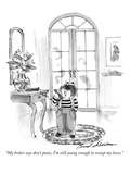 """My broker says don't panic  I'm still young enough to recoup my losses"" - New Yorker Cartoon"