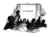 People leaving movie theatre  Instead of 'the end' it says 'closure' - New Yorker Cartoon
