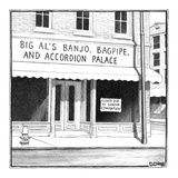 Big Al's Banjo  Accordion  and Bagpipe Palace - New Yorker Cartoon