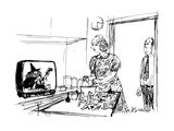 Man sees wife preparing food from witche's cooking show - New Yorker Cartoon