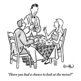 """Have you had a chance to look at the menu"" - New Yorker Cartoon"