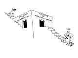Paparazzi angel climbing stairs to doorway that reads  'Welcome To Paparaz… - New Yorker Cartoon
