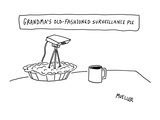 Surveillance camera sticking out of pie - New Yorker Cartoon