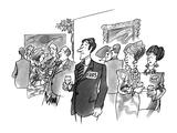 Man with name card saying 'Eva's' - New Yorker Cartoon