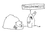 Man standing beside dead bear yells  'Taxidermist!' - New Yorker Cartoon