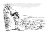 Robinson Crusoe comes upon beach littered with washed-up garbage - New Yorker Cartoon