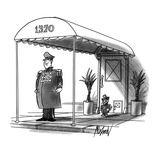 A cat doorman stands by a pet flap at a city house - New Yorker Cartoon