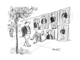 Man walks by street artist who has painted several pictures of him - New Yorker Cartoon