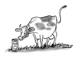 "A cow in a meadow looks at a can with that has a label on it that reads ""M…"" - New Yorker Cartoon"