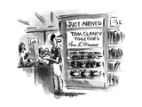 Man in store sees shelves with 'Tom Clancy Toiletries-Pour L'Homme' - New Yorker Cartoon