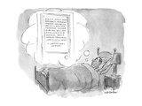 Man lies in bed dreaming of an ad agency with the names of ten or 11 of th… - New Yorker Cartoon