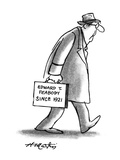 "Man with briefcase that -reads  ""Edward T Peabody since 1921"" - New Yorker Cartoon"