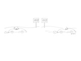 """Two-panel drawing Man drives by sign that reads  """"Caution Pothole"""" In th… - New Yorker Cartoon"""