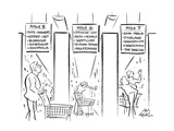 Drawing of three aisles of a bookstore that looks like a supermarket - the… - New Yorker Cartoon
